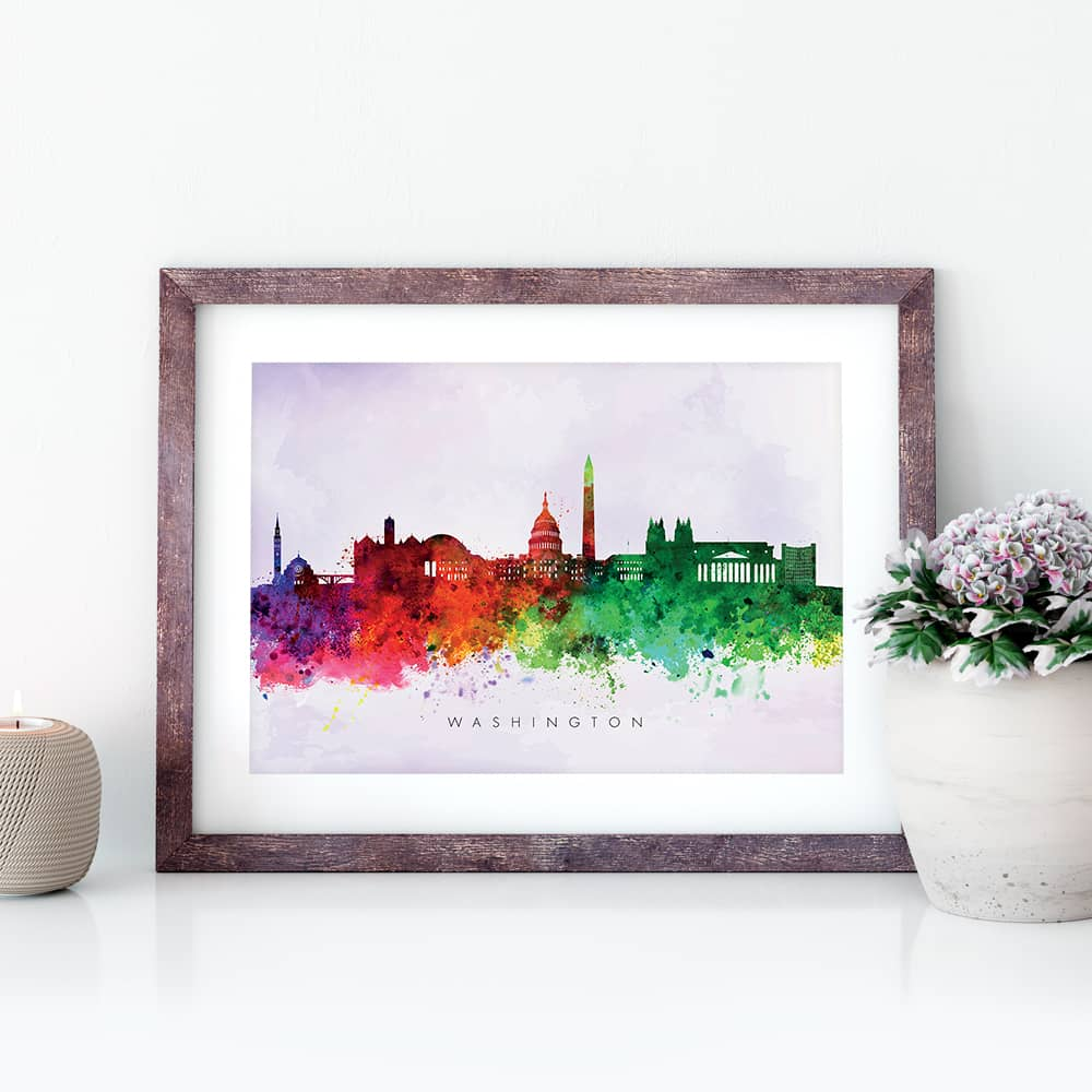 washington skyline purple wash watercolor print closeup