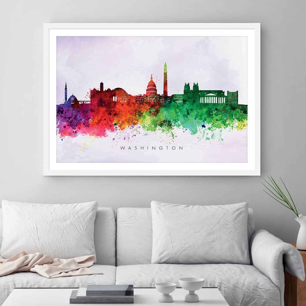 washington skyline purple wash watercolor print framed