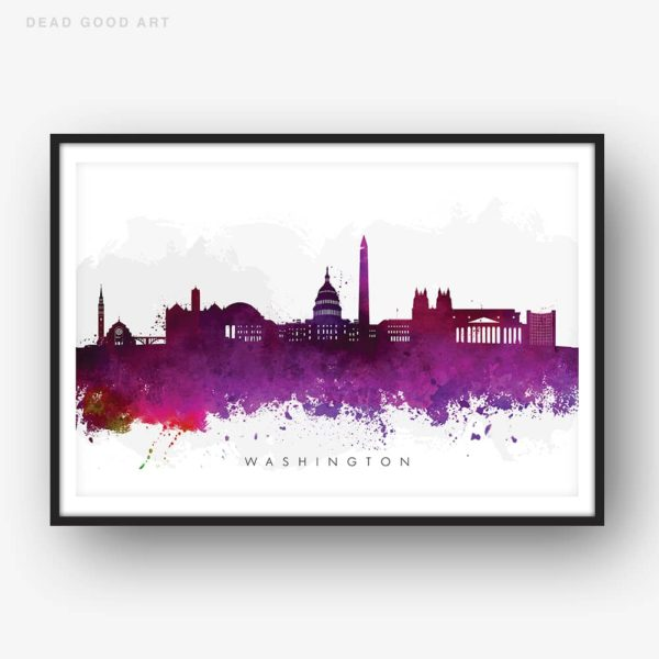 washington skyline purple watercolor print