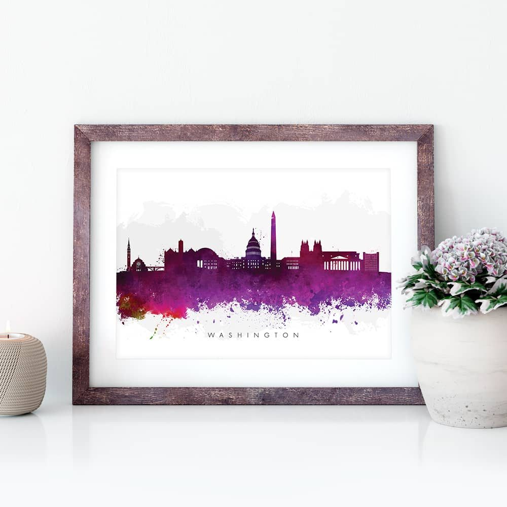washington skyline purple watercolor print closeup