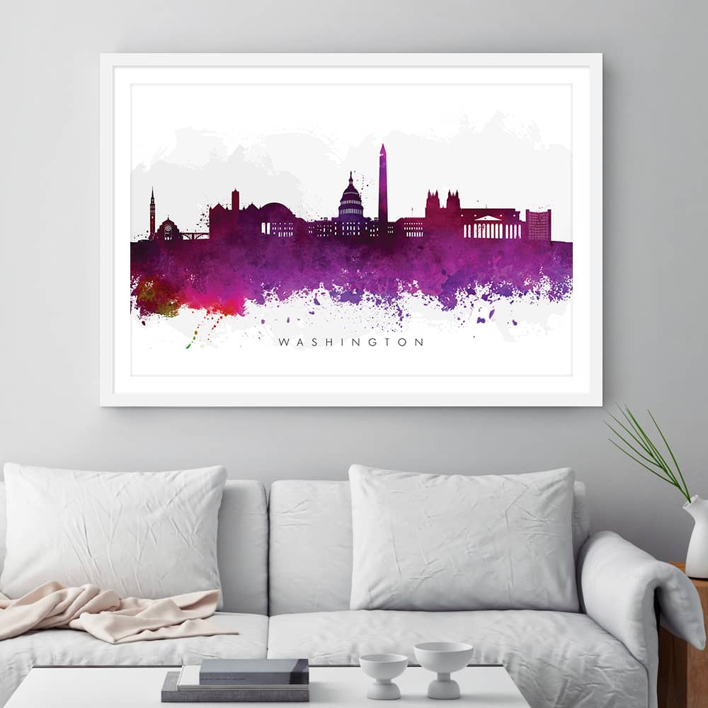 washington skyline purple watercolor print framed