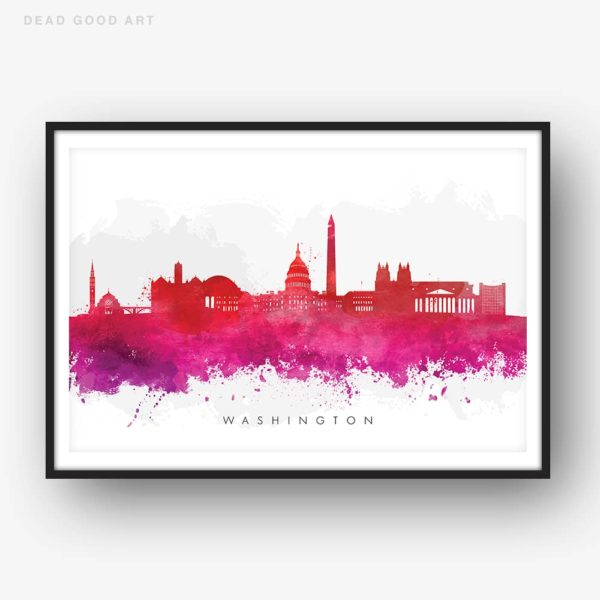 washington skyline red watercolor print