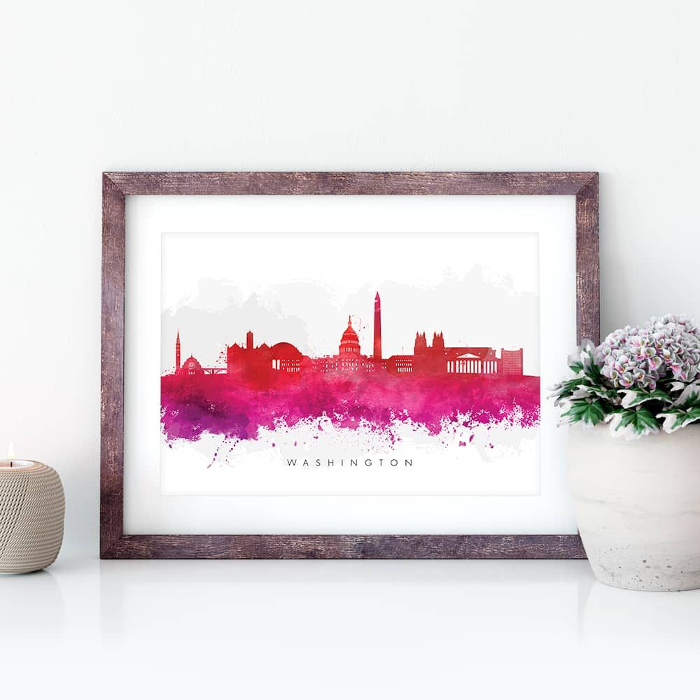 washington skyline red watercolor print closeup