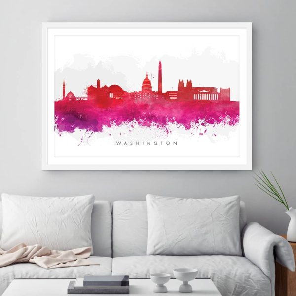 washington skyline red watercolor print framed