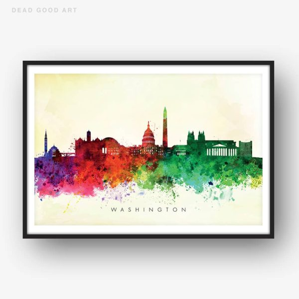 washington skyline yellow wash watercolor print