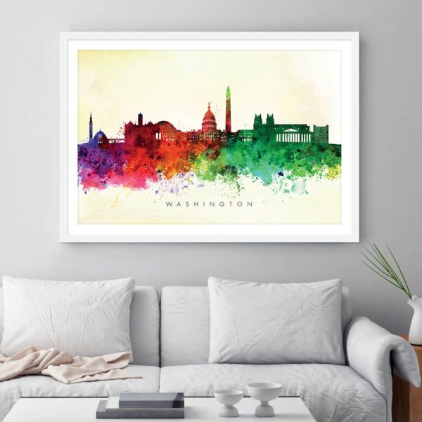 washington skyline yellow wash watercolor print framed