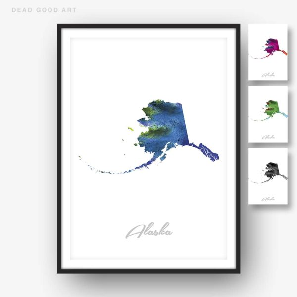 Alaska State Map blue Watercolor Print options
