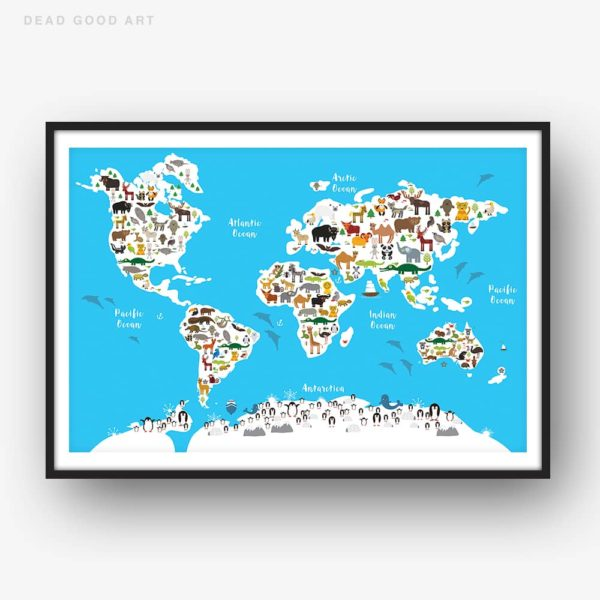 Animal World Map Print BLUE Childrens Map of the World