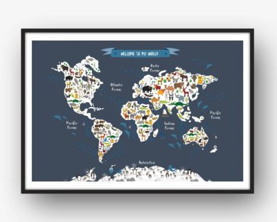 Animal world map print grey childrens map of the world dead good art animal world map print dark grey childrens map of the world gumiabroncs Image collections