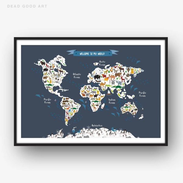 Animal World Map Print Dark Grey Childrens Map of the World