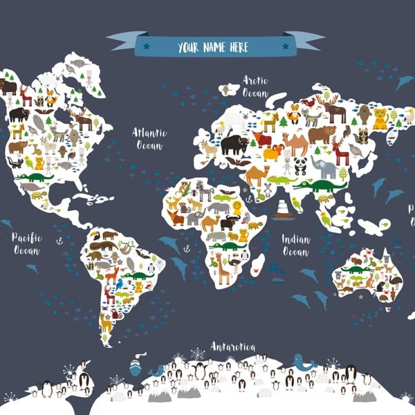 Animal World Map Print Dark Grey Childrens Map of the World closeup