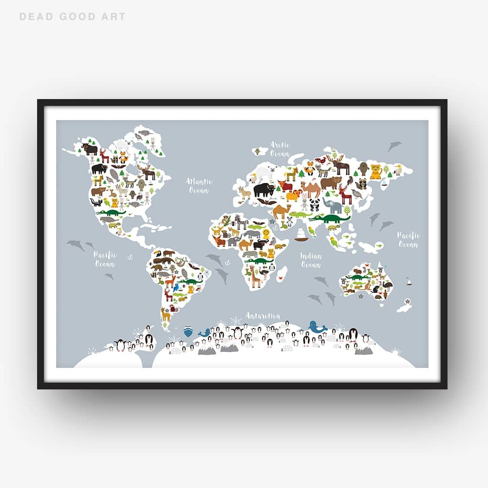 Animal World Map Print GREY Childrens Map of the World