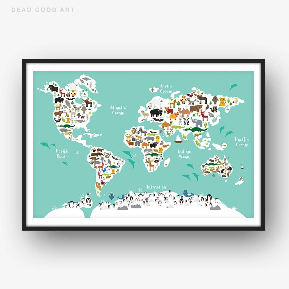 Animal World Map Print Green Childrens Map of the World