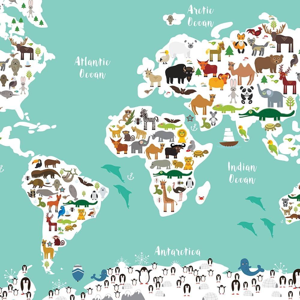 Animal World Map Print Green Childrens Map of the World wall art