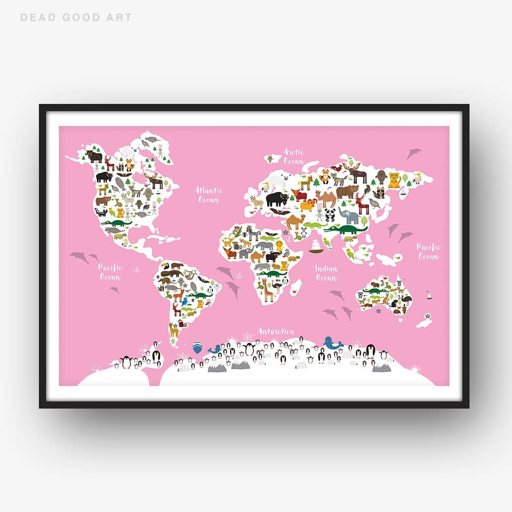 Animal World Map Print Pink Childrens Map of the World