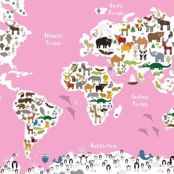 Animal World Map Print Pink Childrens Map of the World wall art
