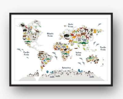 Animal World Map Print WHITE Childrens Map of the World