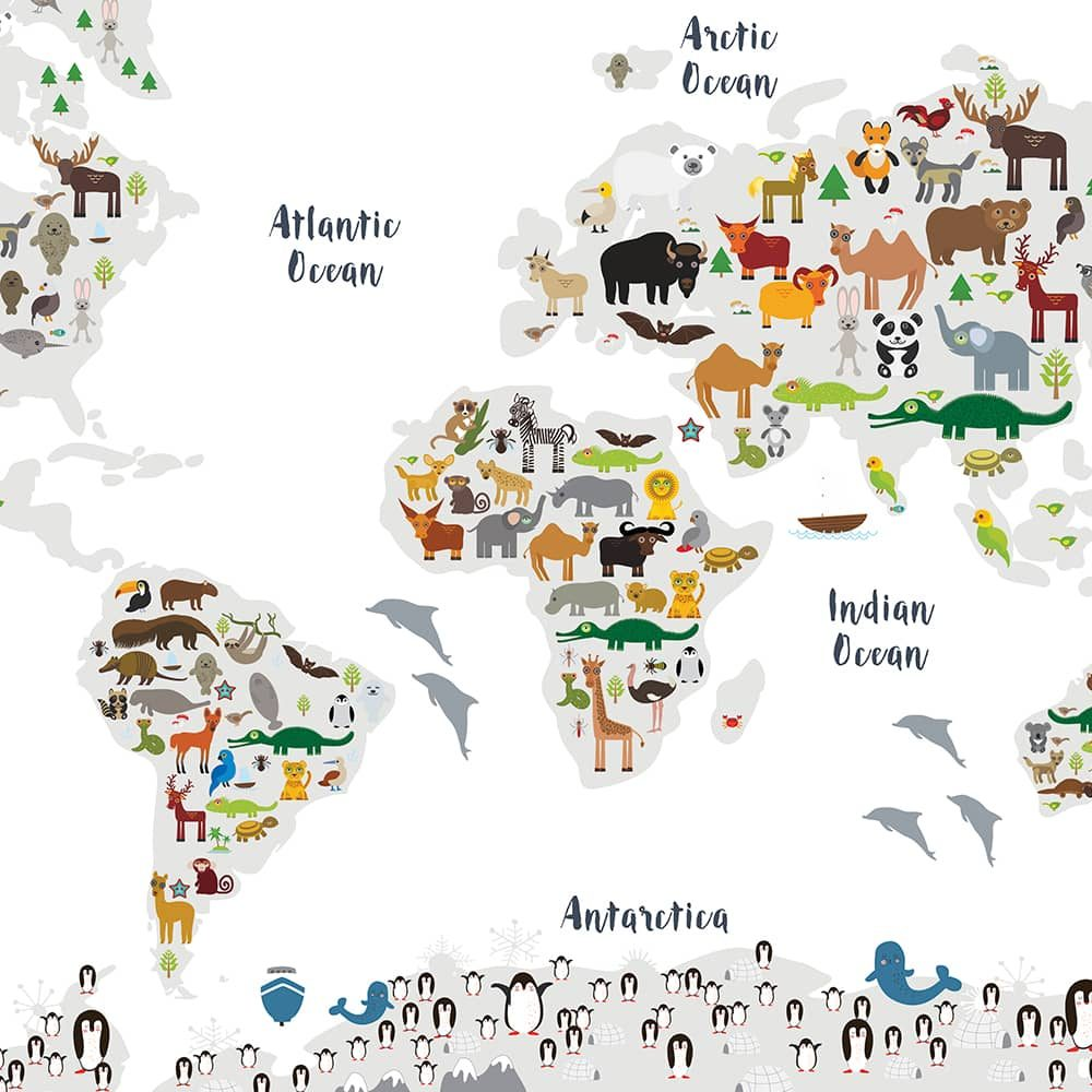 Animal World Map Print WHITE Childrens Map of the World wall art