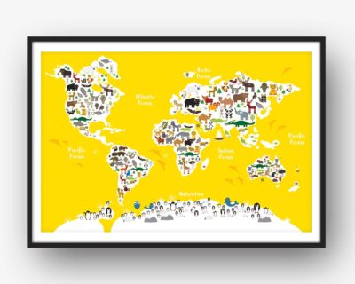 Animal World Map Print Yellow Childrens Map of the World
