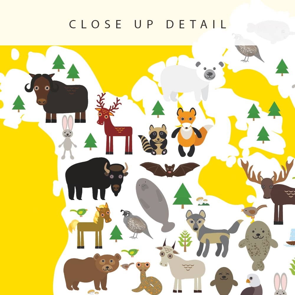 Animal World Map Print Yellow Childrens Map of the World closeup