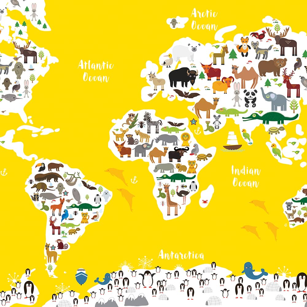 Animal World Map Print Yellow Childrens Map of the World wall art