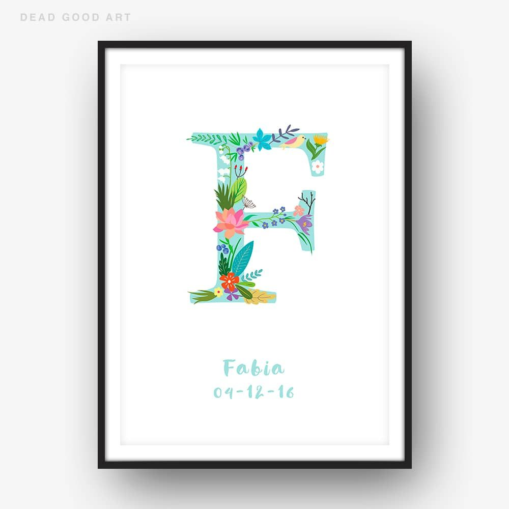 Floral Art F Personalized Name Print