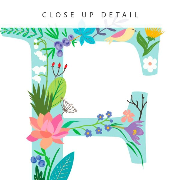 Floral Art F Personalized Name Print closeup