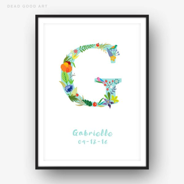 Floral Art G Personalized Name Print