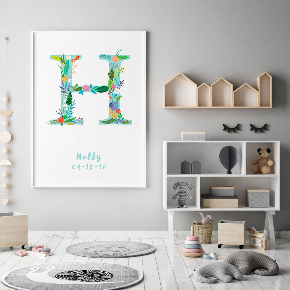 Floral Art H Personalized Name Print framed