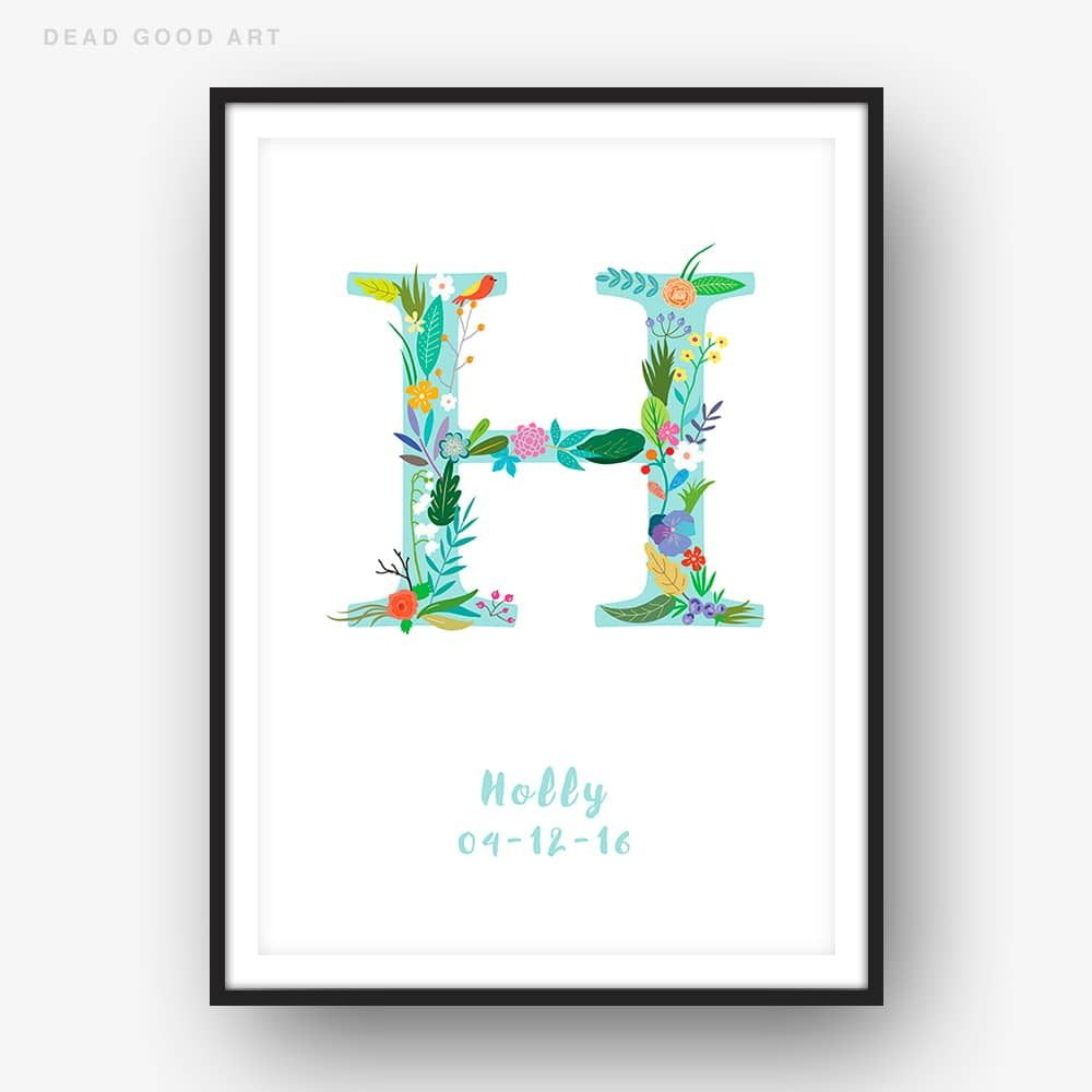 Floral Art H Personalized Name Print wall art