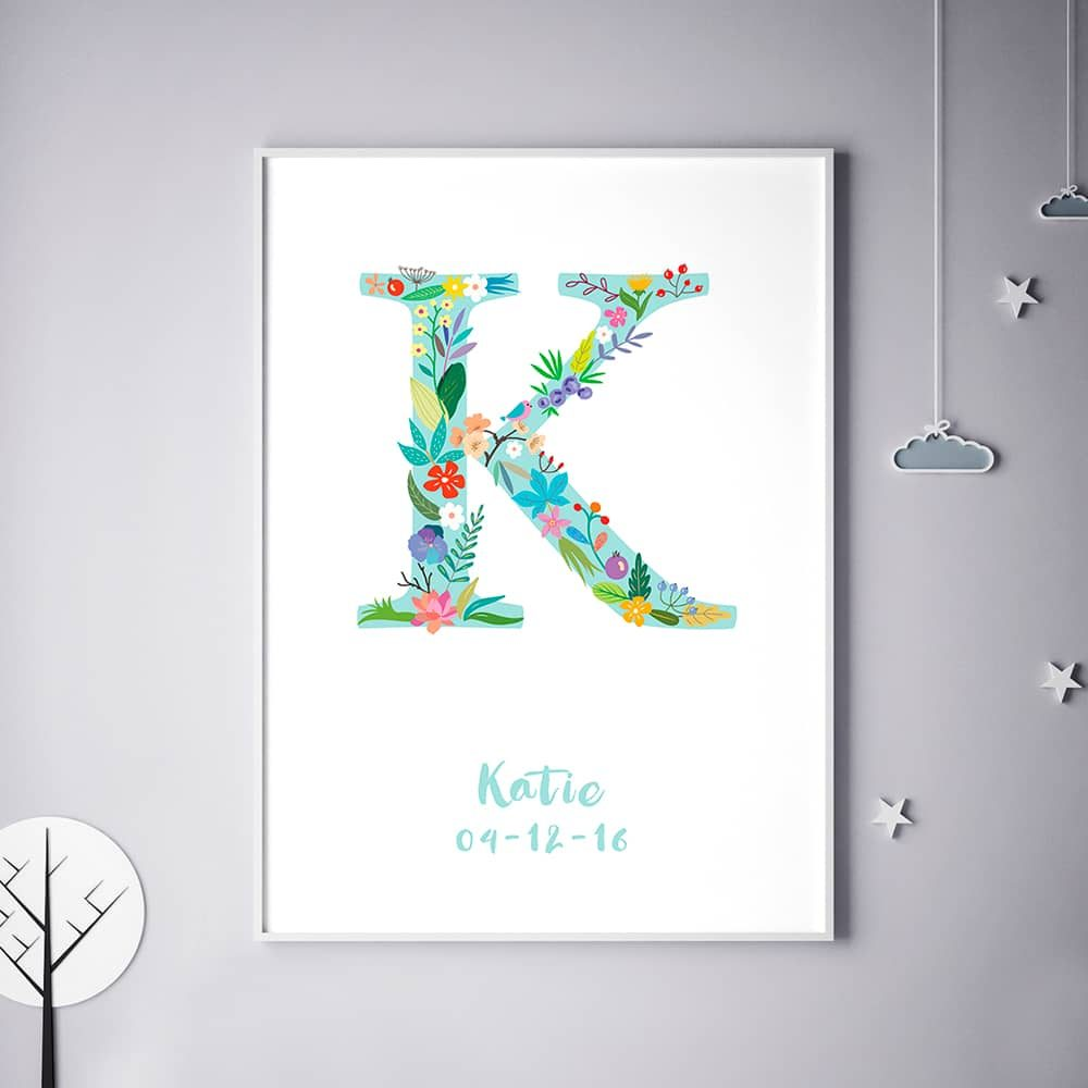 Floral Art K Personalized Name Print wall art