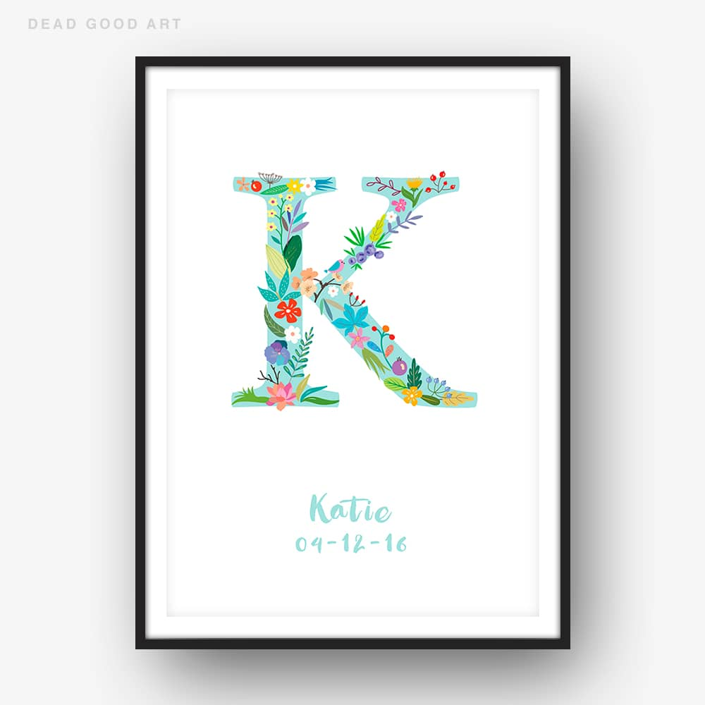 Floral Art K Personalized Name Print