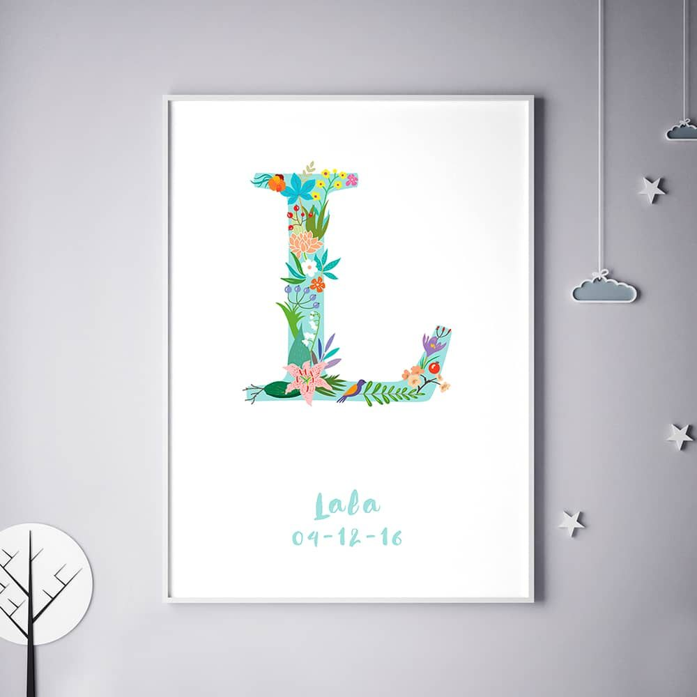 Floral Art L Personalized Name Print wall art