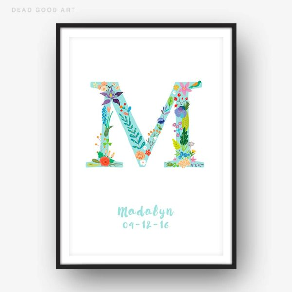 Floral Art M Personalized Name Print