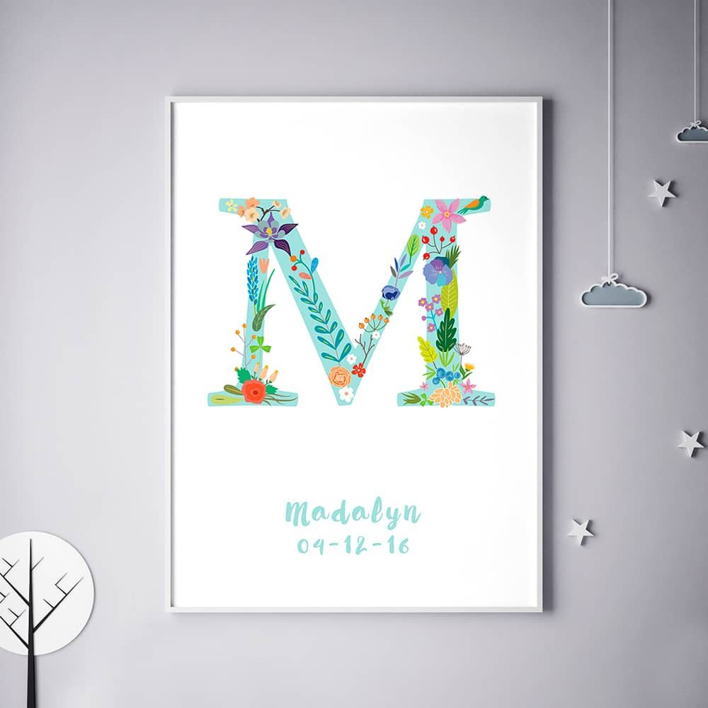 Floral Art M Personalized Name Print wall art