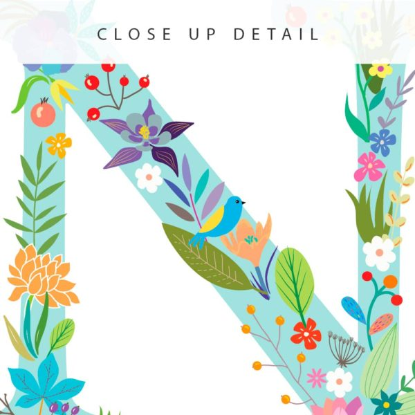 Floral Art N Personalized Name Print closeup