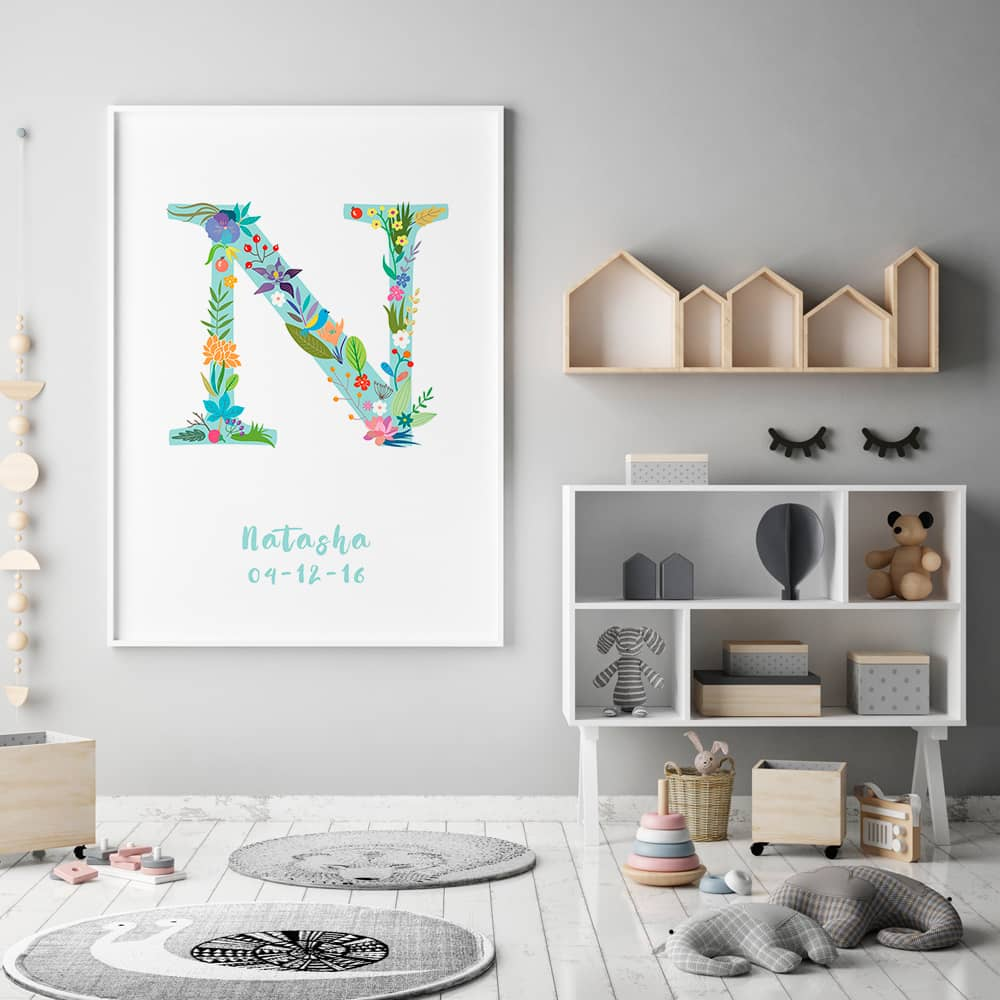Floral Art N Personalized Name Print framed