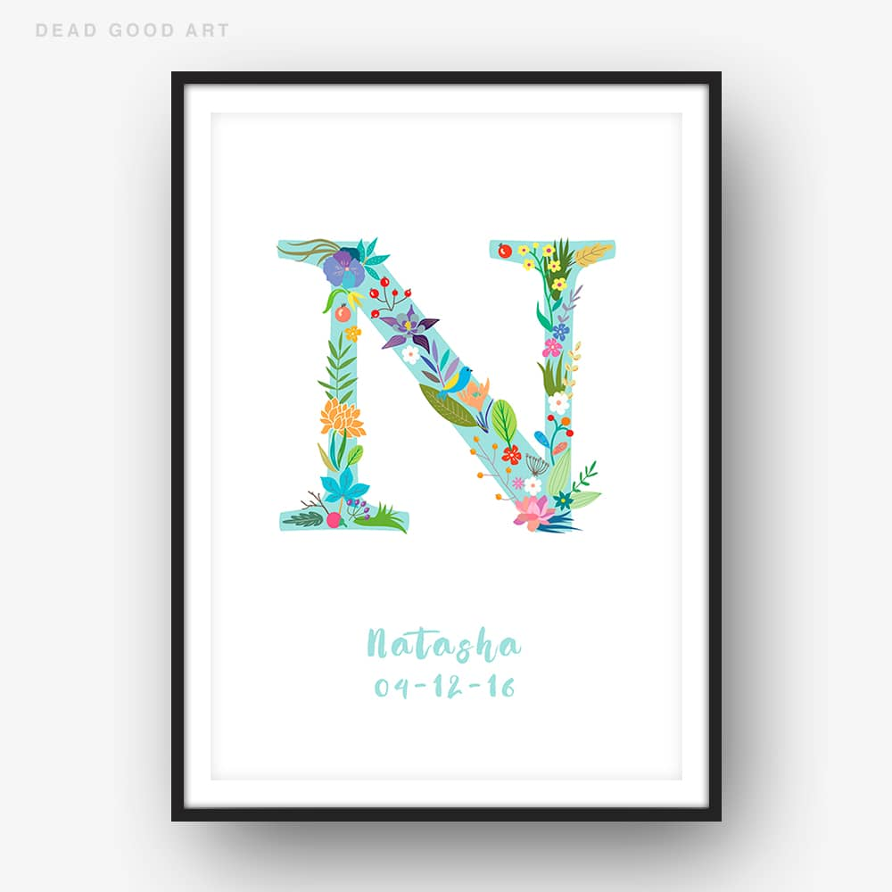 Floral Art N Personalized Name Print
