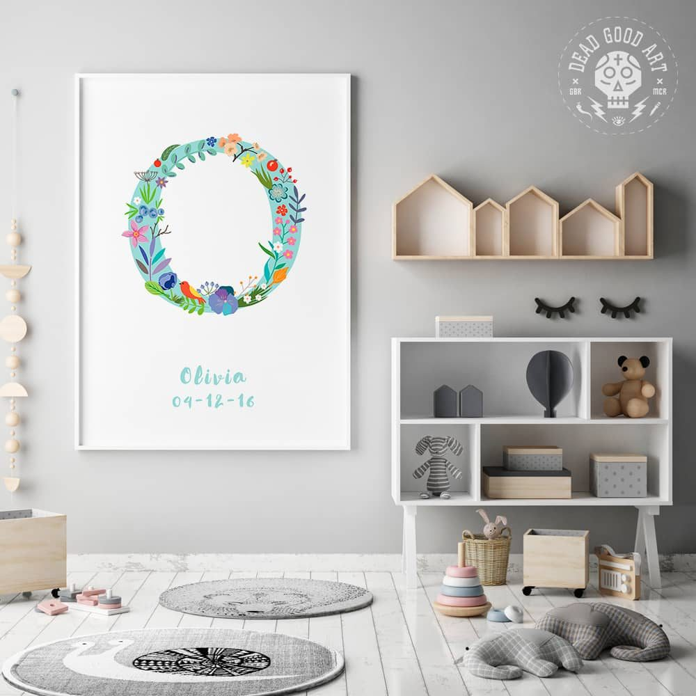 Floral Art O Personalized Name Print framed