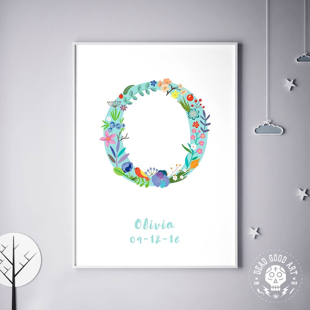 Floral Art O Personalized Name Print wall art