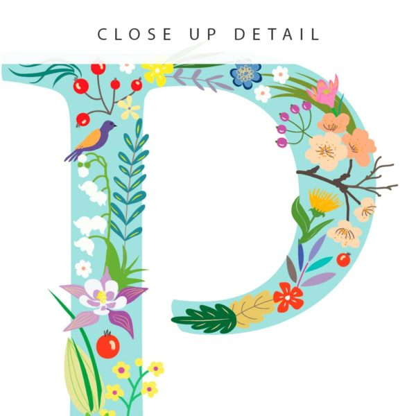 Floral Art P Personalized Name Print closeup