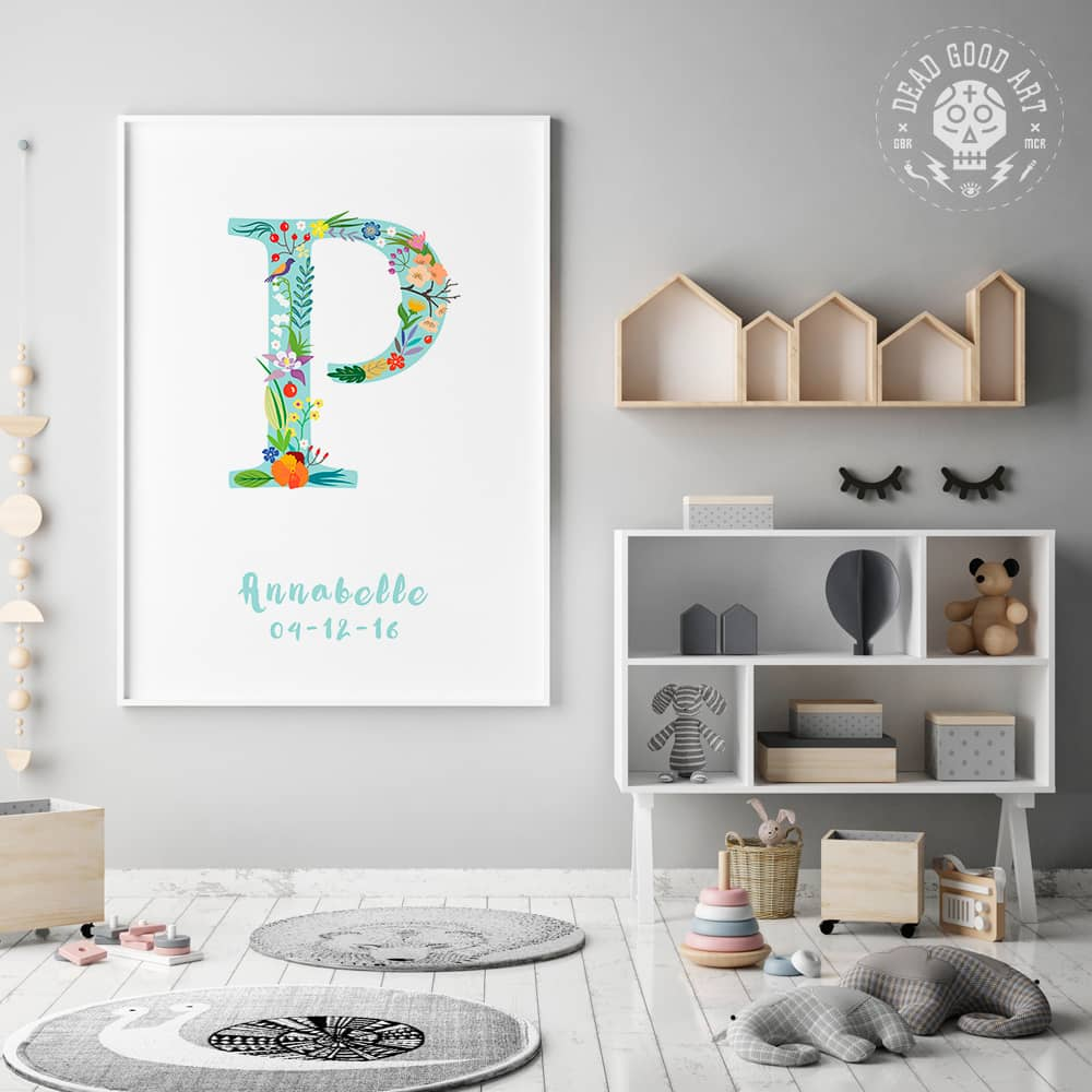 Floral Art P Personalized Name Print framed