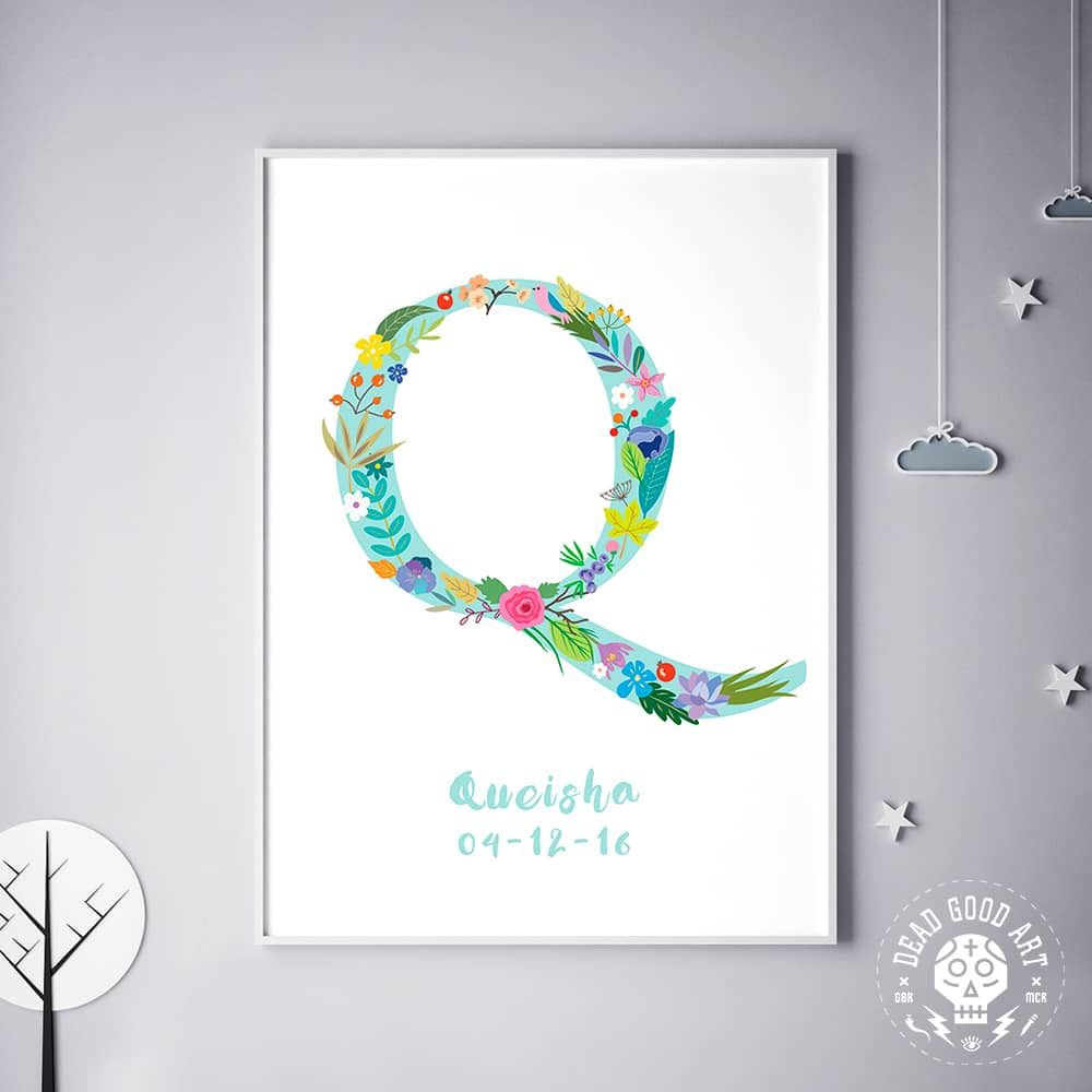 Floral Art Q Personalized Name Print wall art