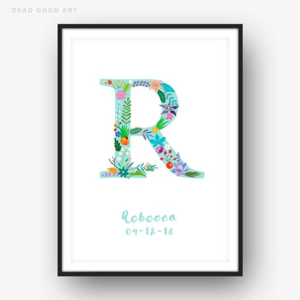 Floral Art R Personalized Name Print