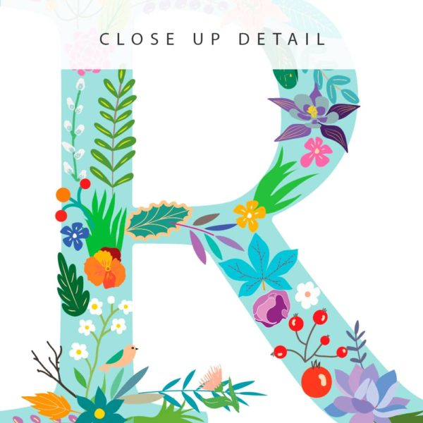 Floral Art R Personalized Name Print closeup