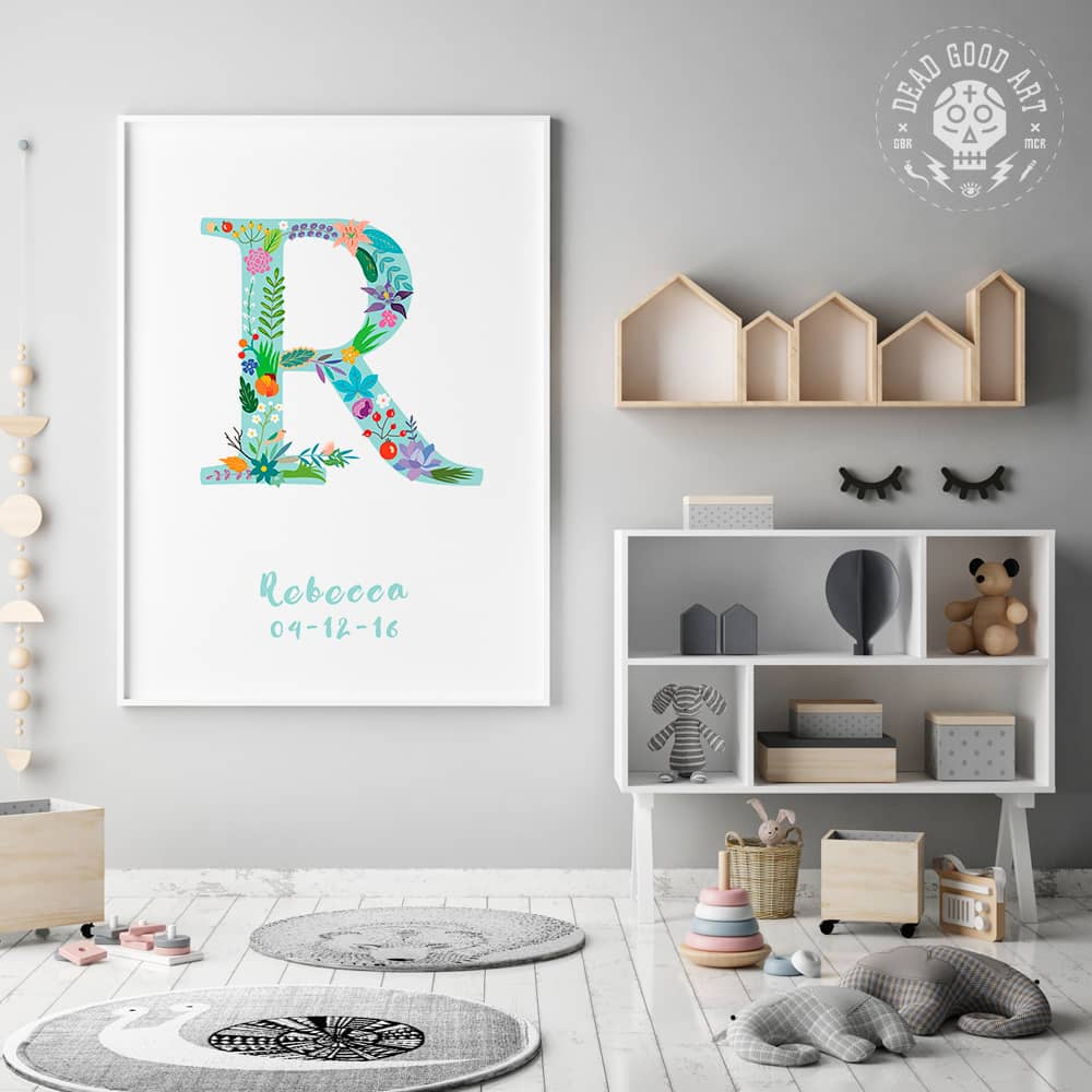 Floral Art R Personalized Name Print framed