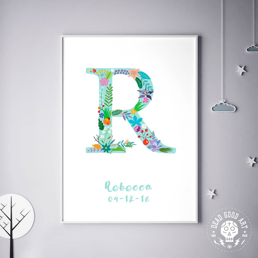 Floral Art R Personalized Name Print wall art