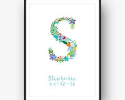 Floral Art S Personalized Name Print