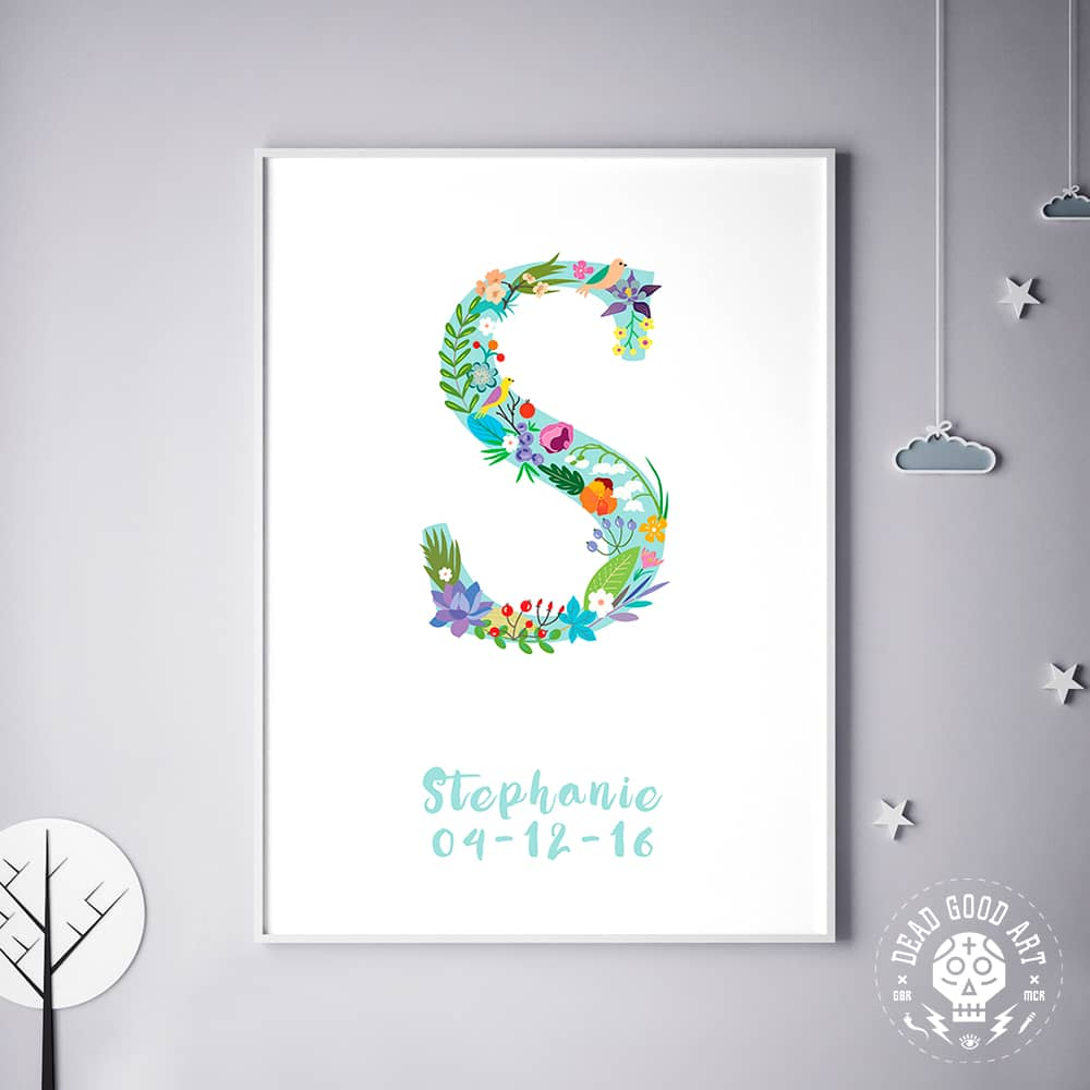 Floral Art S Personalized Name Print wall art