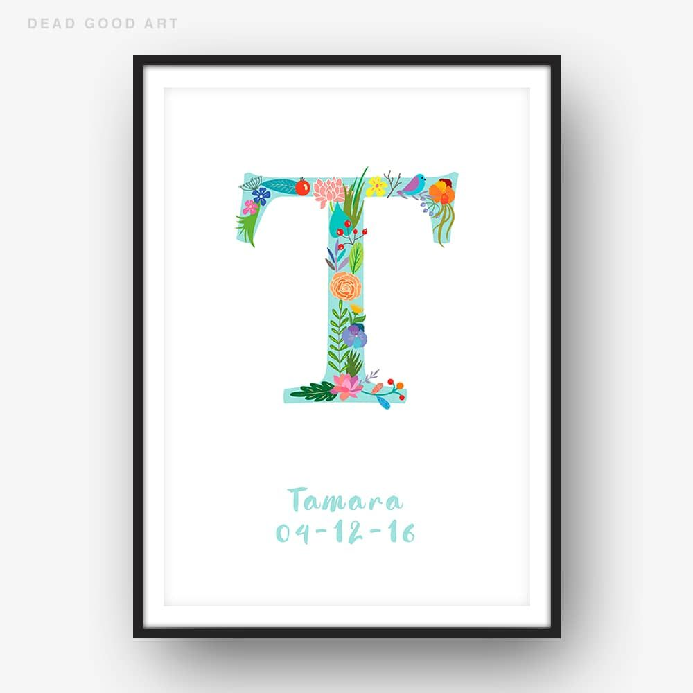 Floral Art T Personalized Name Print